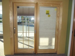 Pella Wood Clad French Sliding Patio Door With Blinds